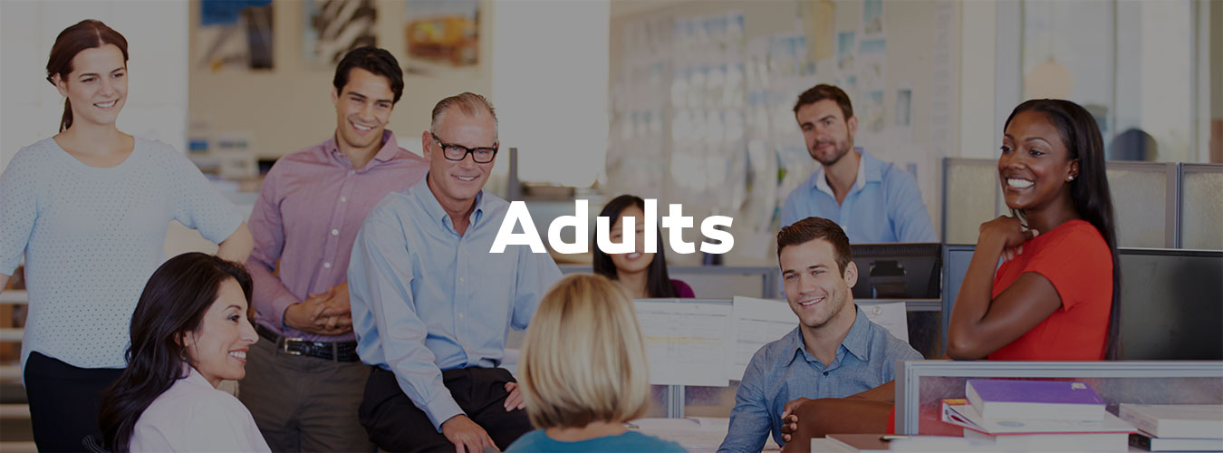 Adults staff meeting header with overlay