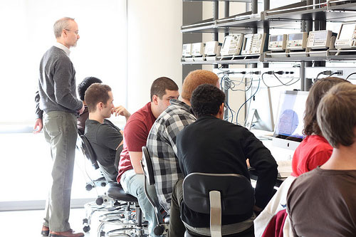 Young adults in an engineering lab